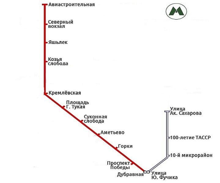Схема метро в казани